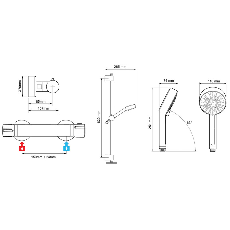 Mira Atom EV Thermostatic Bar Mixer Shower