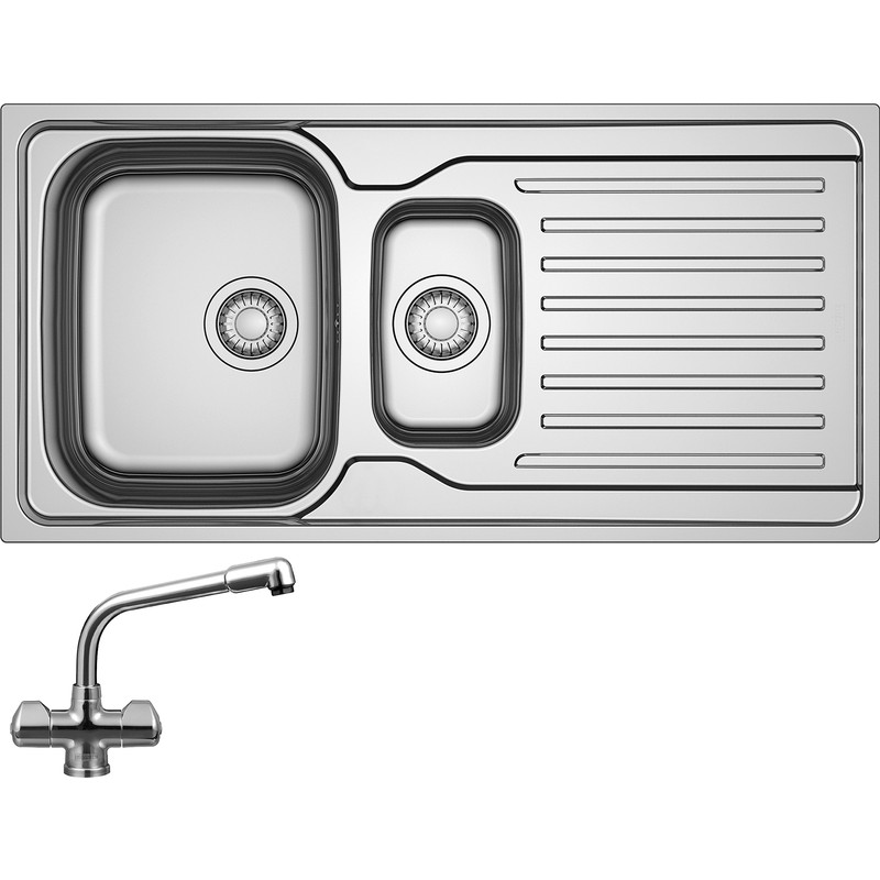 Franke Antea Reversible Stainless Steel Kitchen Sink with Danube Mono Mixer Tap