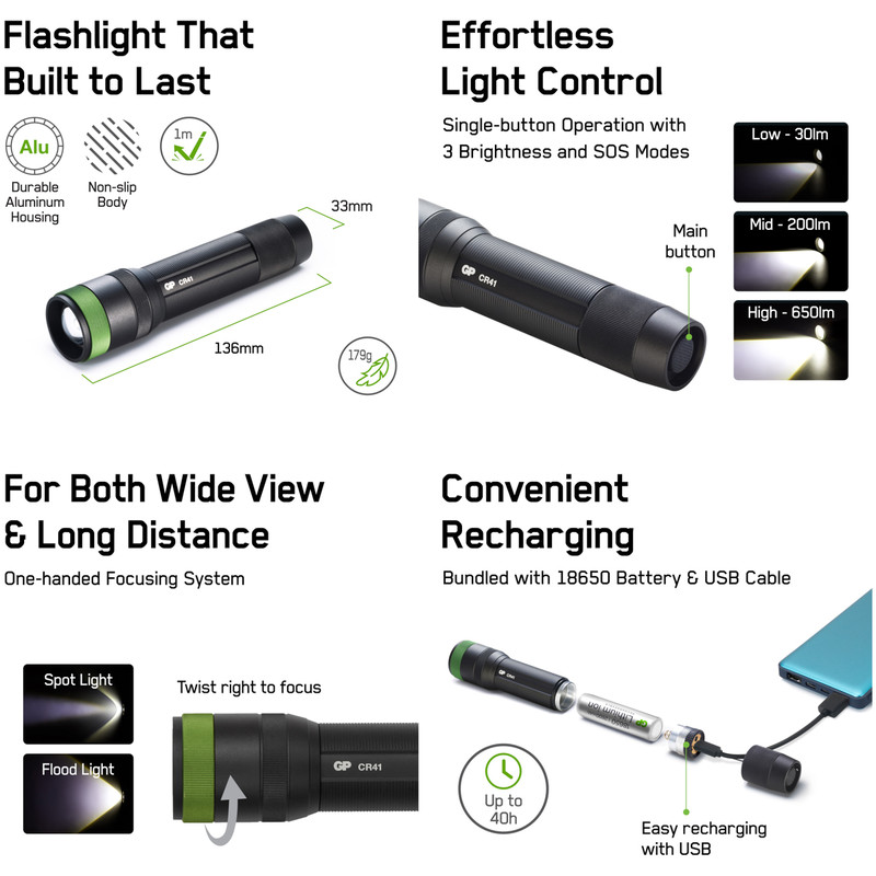 GP Discovery CR41 Rechargeable LED Torch