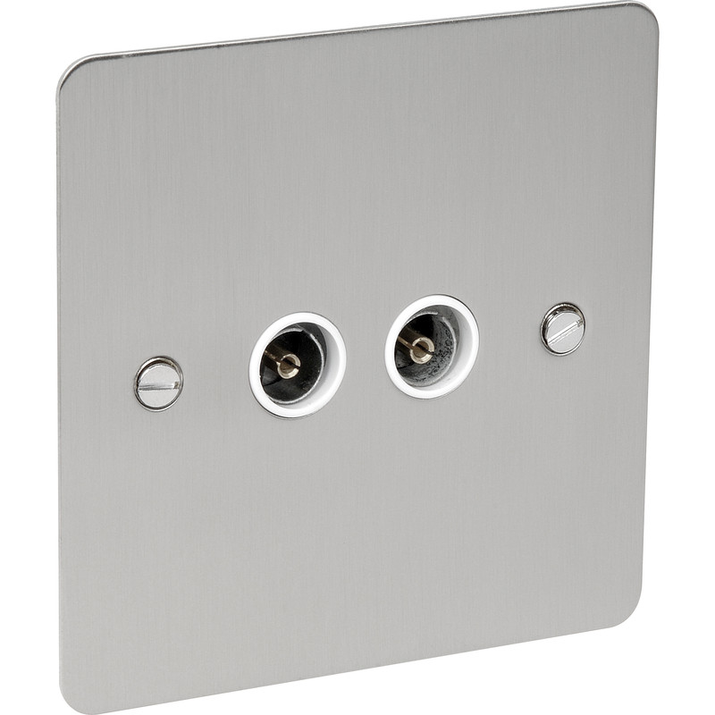Flat Plate Plate Satin Chrome TV Socket Outlet