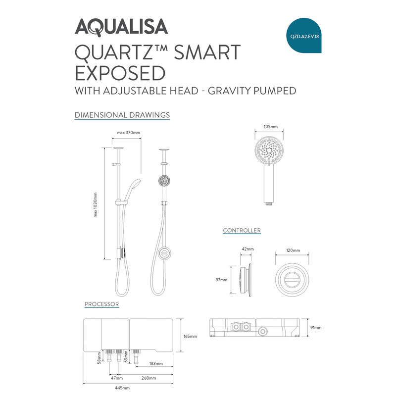 Aqualisa Quartz Digital Exposed Thermostatic Shower