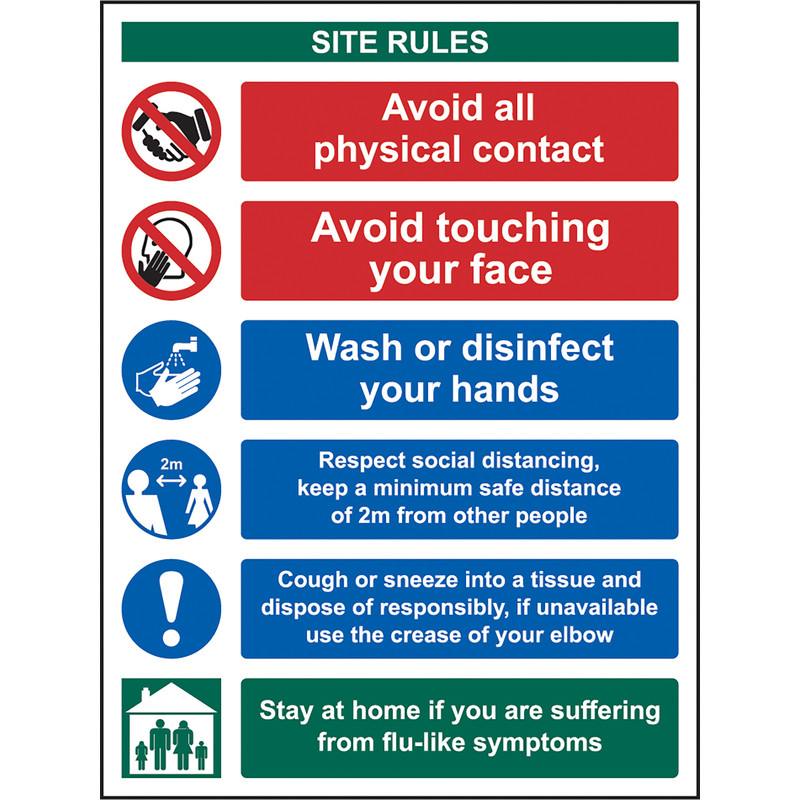 Social Distancing & Hygiene Site Safety Sign
