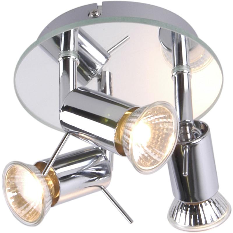 Mercury Mirror Plated GU10 3 Plate Spotlight