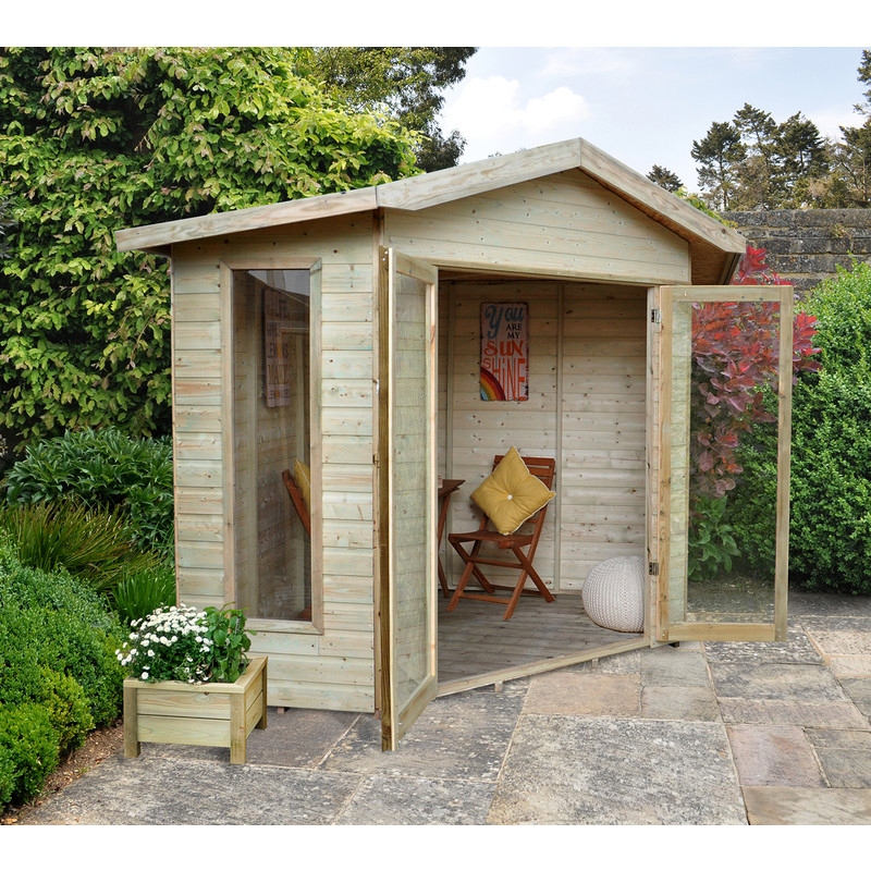Forest Garden Shiplap Pressure Treated Corner Honeybourne Summerhouse