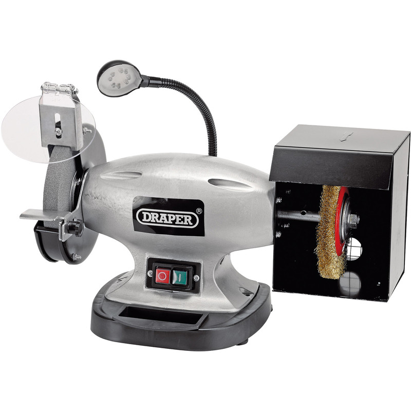 Draper 150mm 370W Bench Grinder with Wire Wheel and LED Worklight