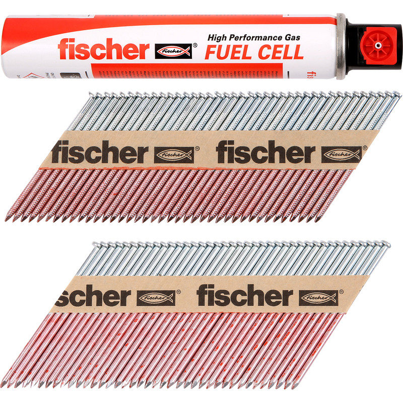 Fischer 550 Double Galvanised Nail & Gas Fuel Pack