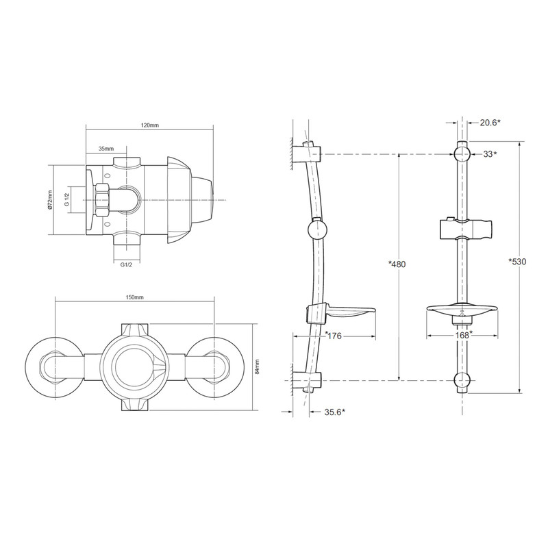Triton Valdi Concentric Bar Mixer Shower