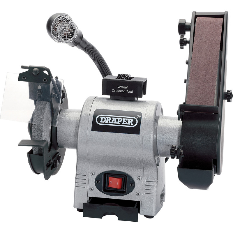 Draper 370W 150mm Bench Grinder with Sanding Belt and Worklight