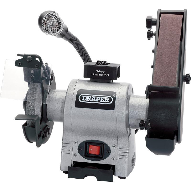 Draper 370W 150mm Bench Grinder with Sanding Belt and Worklight