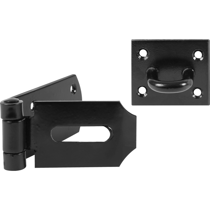 Heavy Duty Black Safety Hasp & Staple