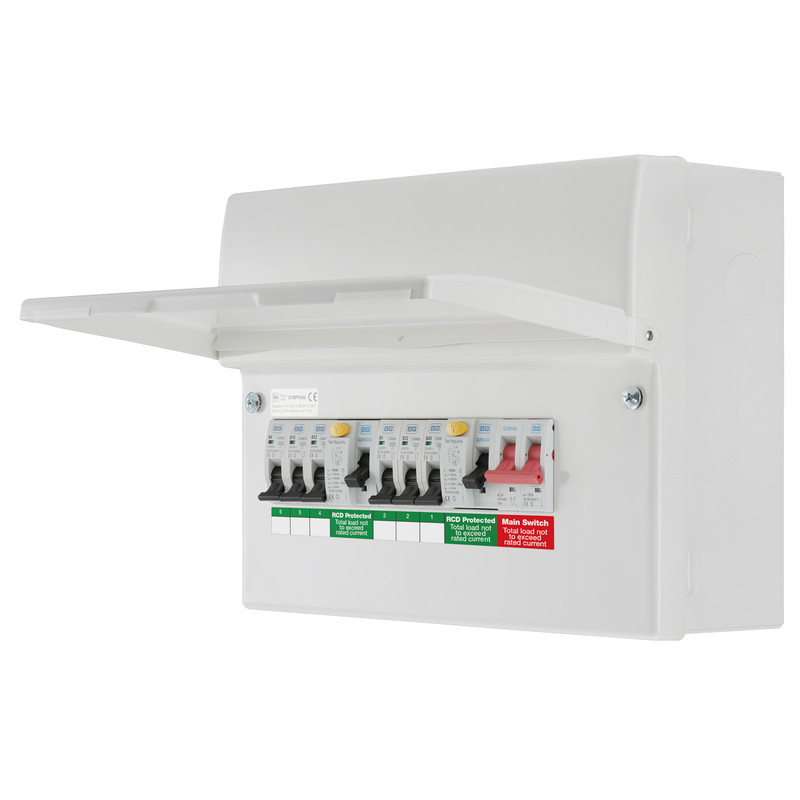 BG Metal Consumer Unit Dual RCD + 6 MCBs