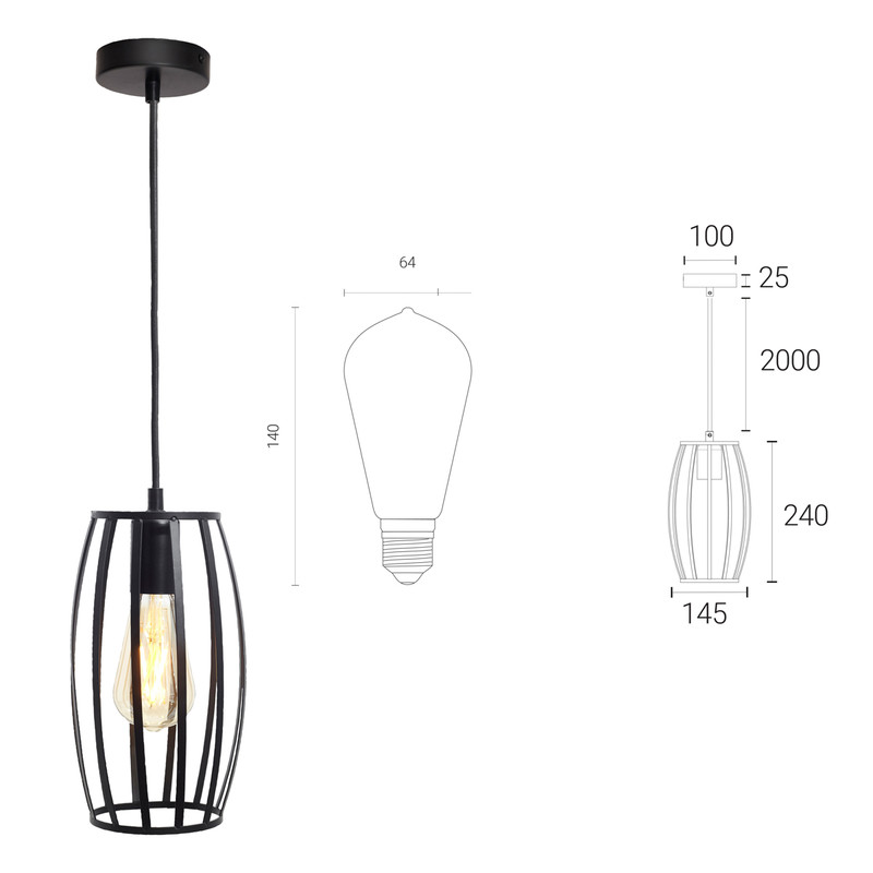 4lite WiZ Connected Decorative Single Black Pendant with Pear Shape Cage and ST64 6.5W LED Smart WiFi Bulb