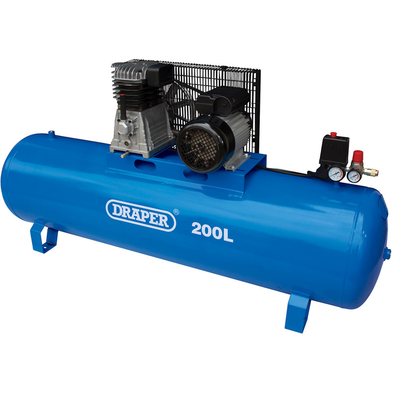 Draper 200L 2200W Stationary Belt-Driven Air Compressor