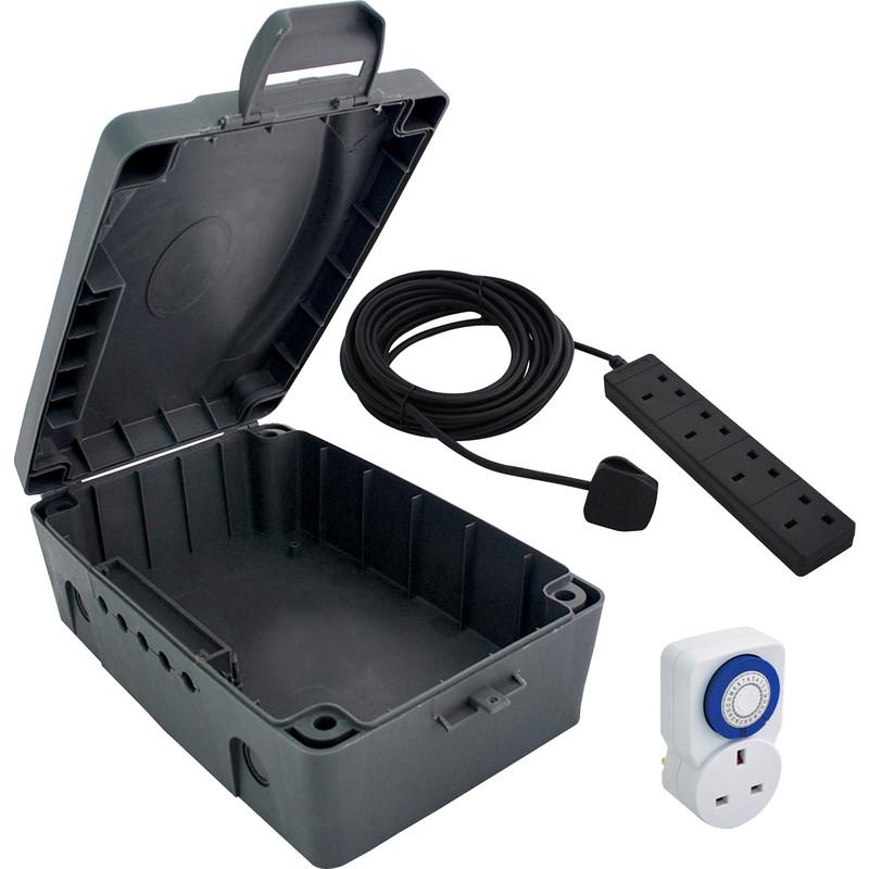 Masterplug IP54 Weatherproof Enclosure Lead & Timer