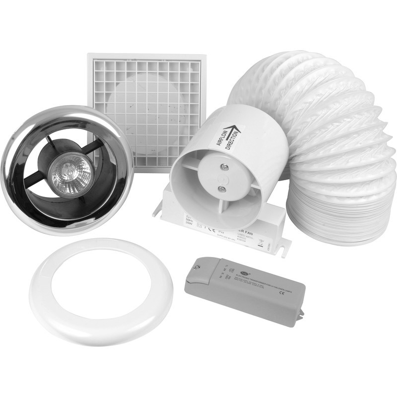 100mm inline shower extractor fan kit with light timer - Bathroom ceiling extractor fan with light ...