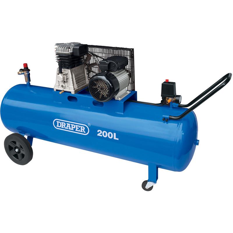 Draper 200L 2200W Belt-Driven Air Compressor