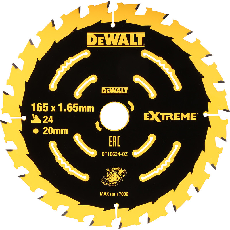 Dewalt extreme cordless circular saw blade 165 x 20mm x 24t greentooth Choice Image