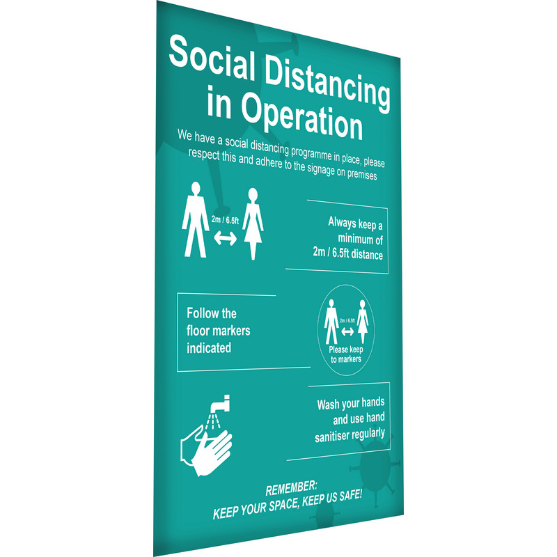 'Social Distancing In Operation' Wall Sign