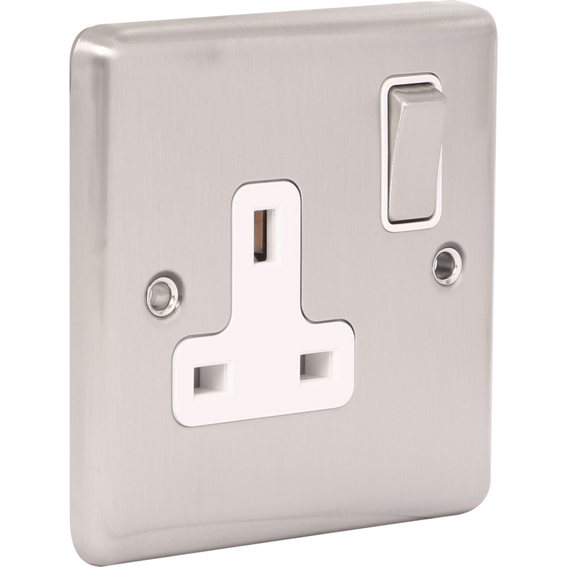 Wessex Brushed Stainless Steel 13A DP Switched Socket