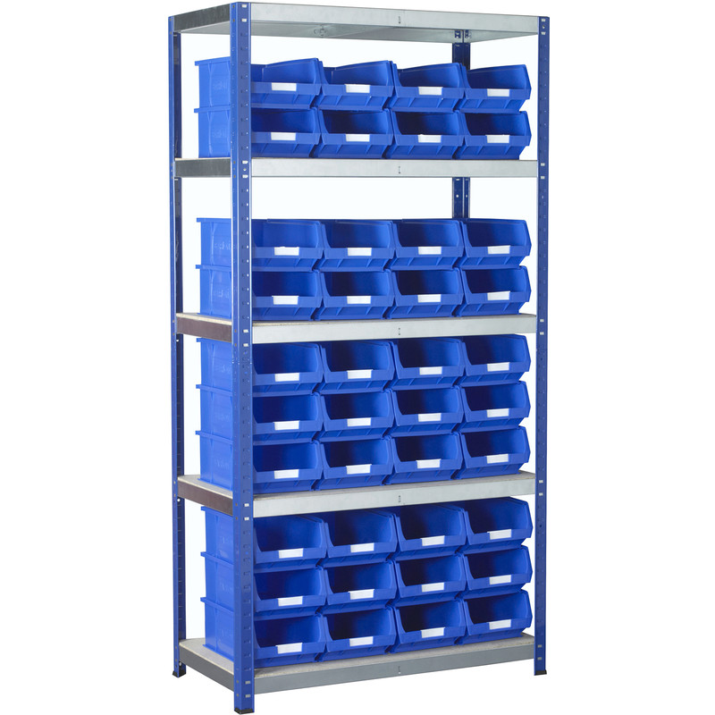 Eco Shelving Bay with Blue Bins