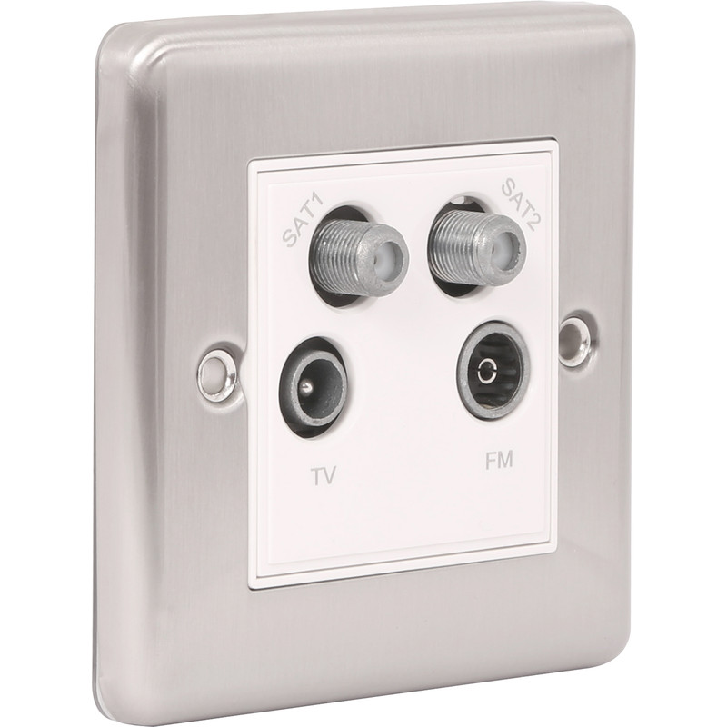 Wessex Brushed Stainless Steel TV/Satellite Socket