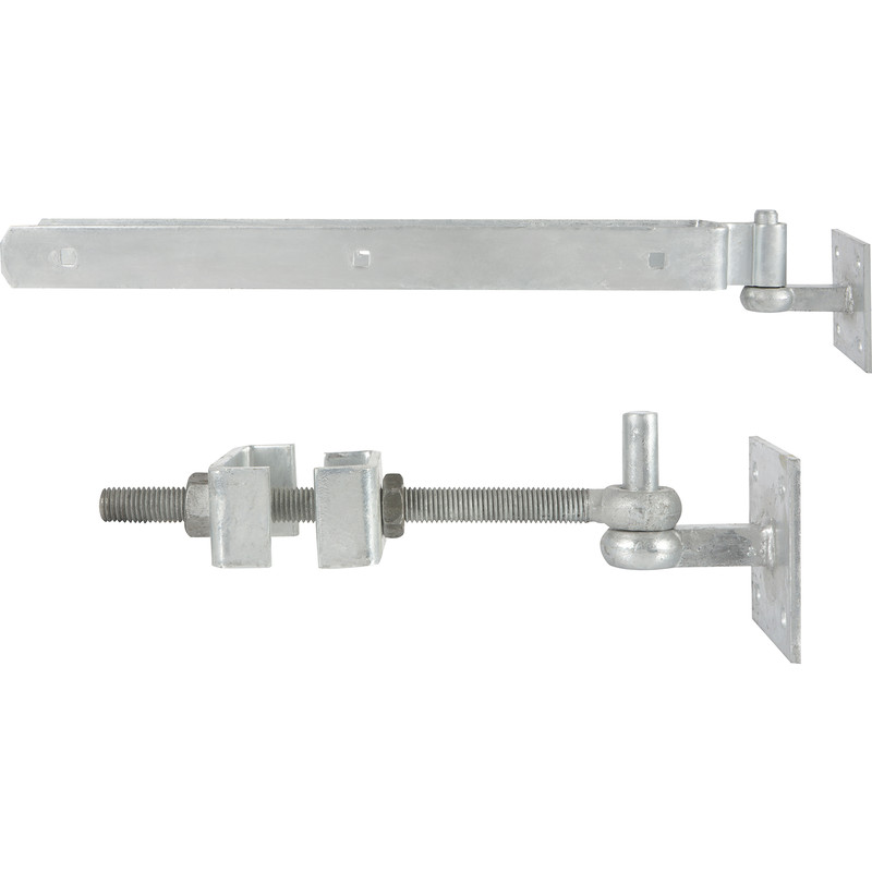 GATEMATE Field Gate Adjustable Hinge Set/Hooks on Plate
