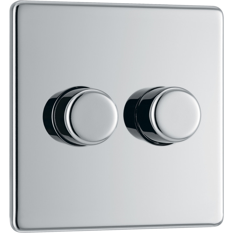 Bg Less Flat Plate Polished Chrome Dimmer Switch 2 Gang Way 400w Push