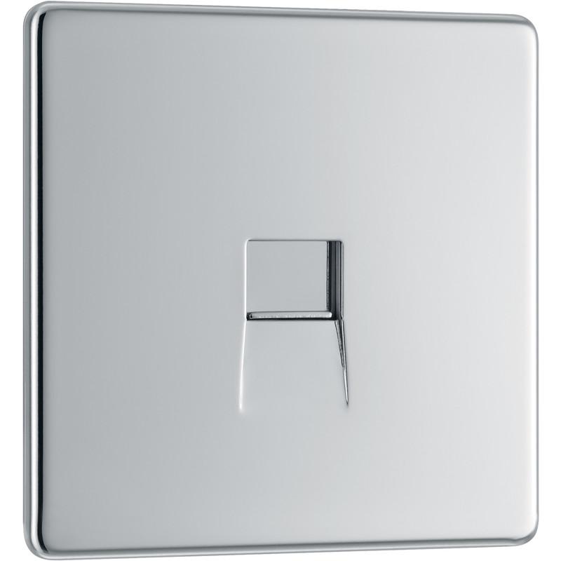 BG Screwless Flat Plate Polished Chrome Telephone Socket