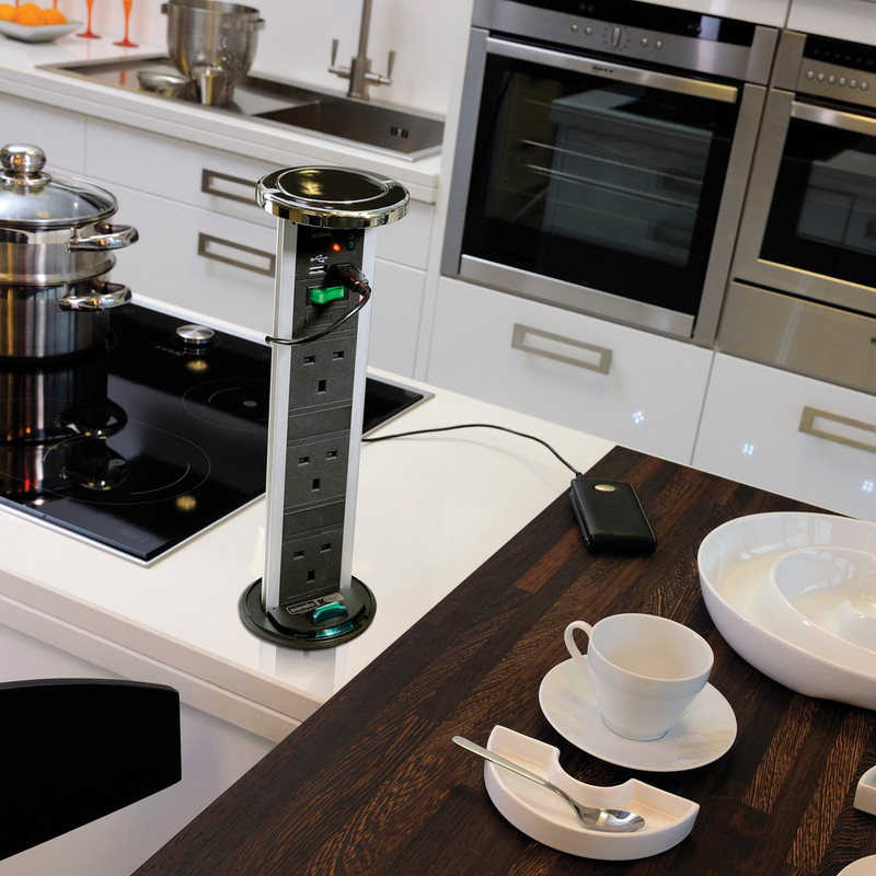 Desk Surface Pull-out//Pop-up POD 3x UK Sockets Black Sensio Kitchen Worktop