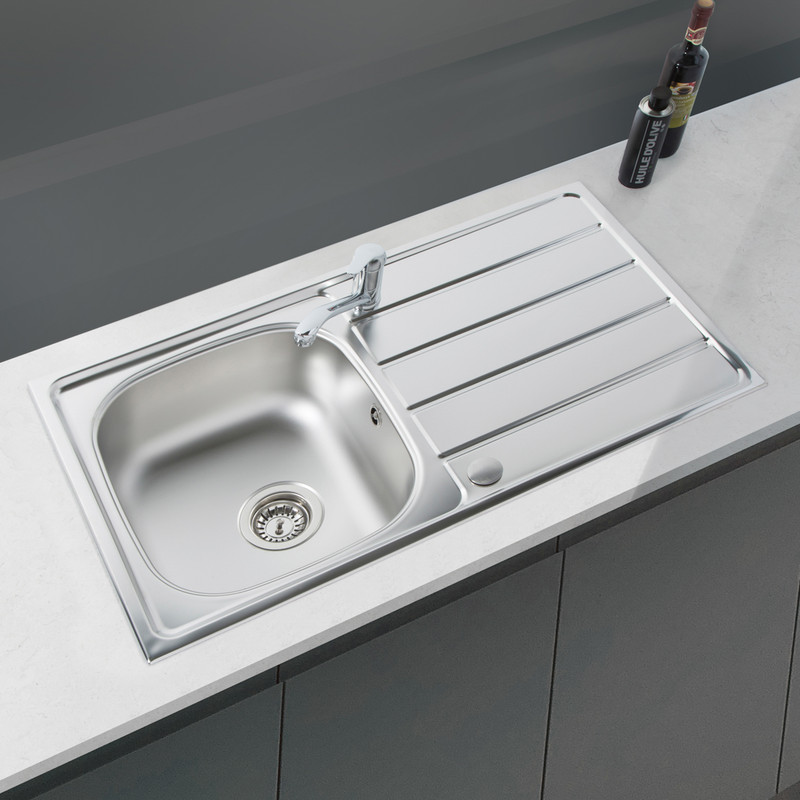 Reversible Stainless Steel Compact Kitchen Sink & Drainer With Single Lever Mixer Tap