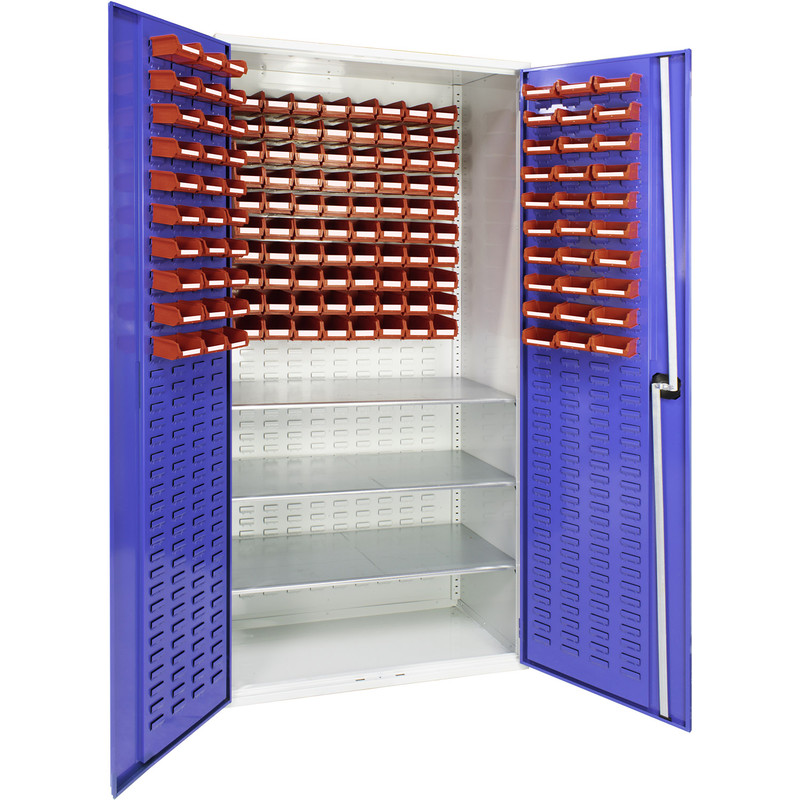 Barton Louvred Panel Cabinet with 3 Shelves & Bins