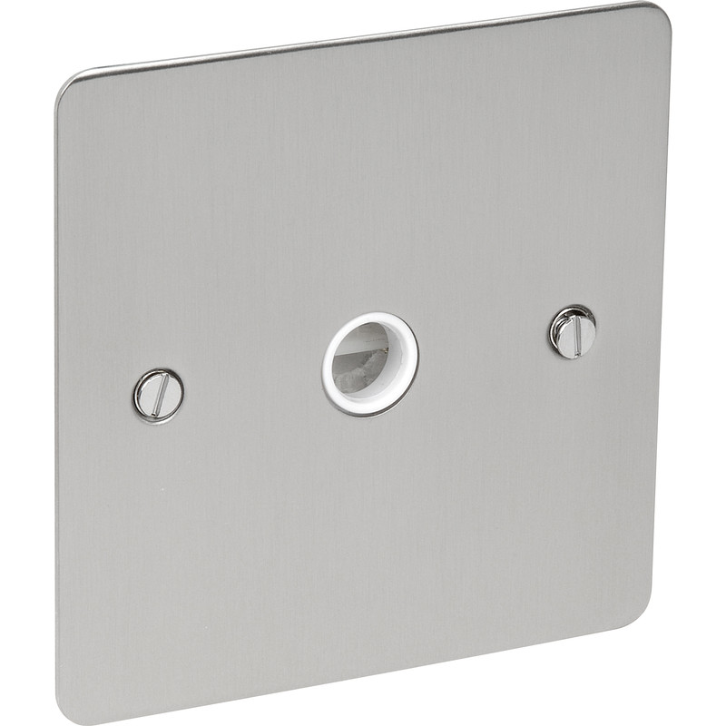 Flat Plate Satin Chrome 20A Flex Outlet Plate