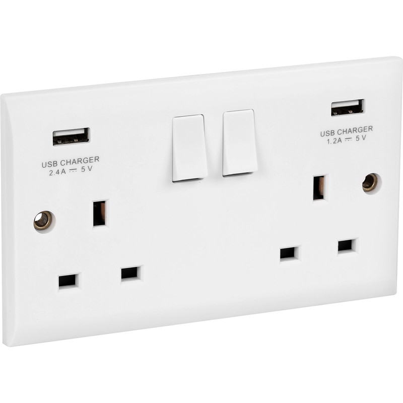 Axiom 13A White Low Profile  USB Switched Socket