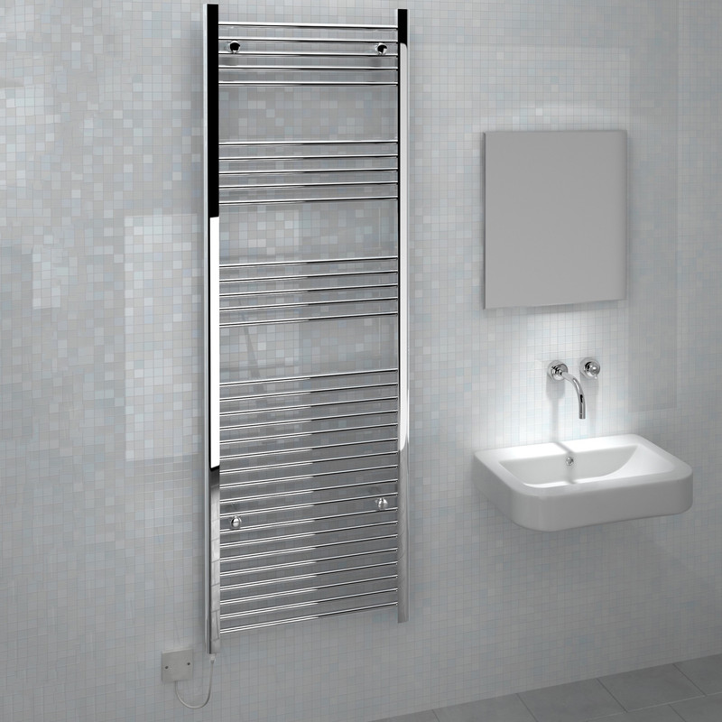 Kudox Electric Straight Chrome Towel Radiator