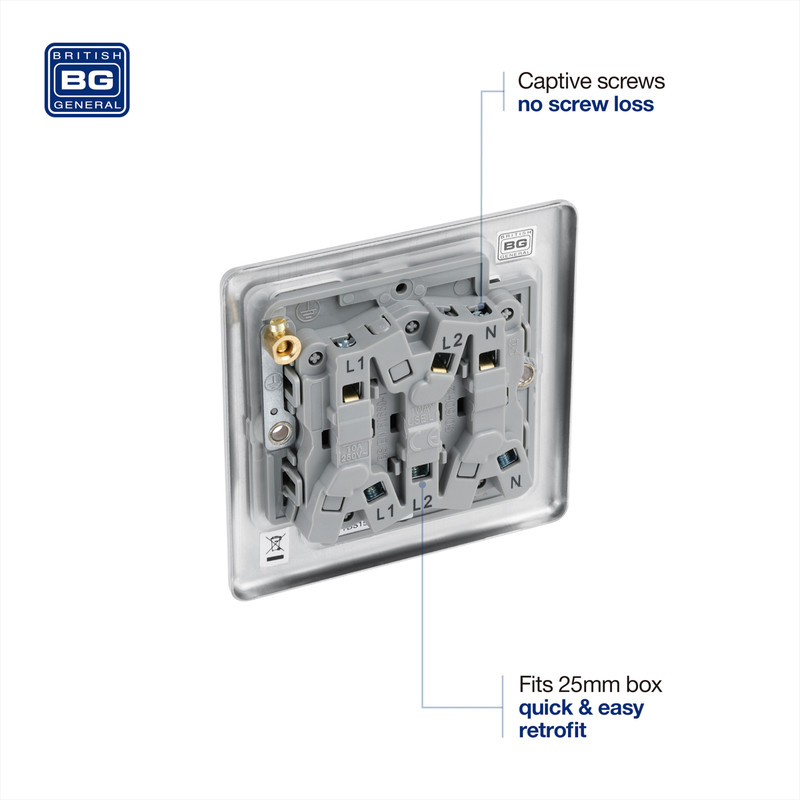 BG Brushed Steel Fan Isolator Switch