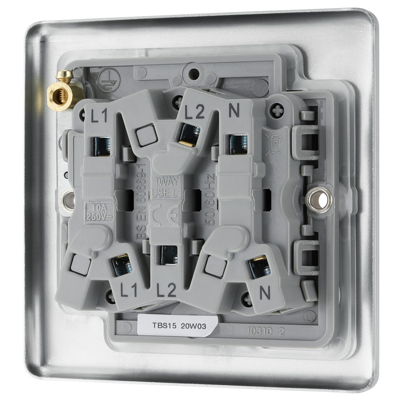 BG Brushed Steel Fan Isolator Switch