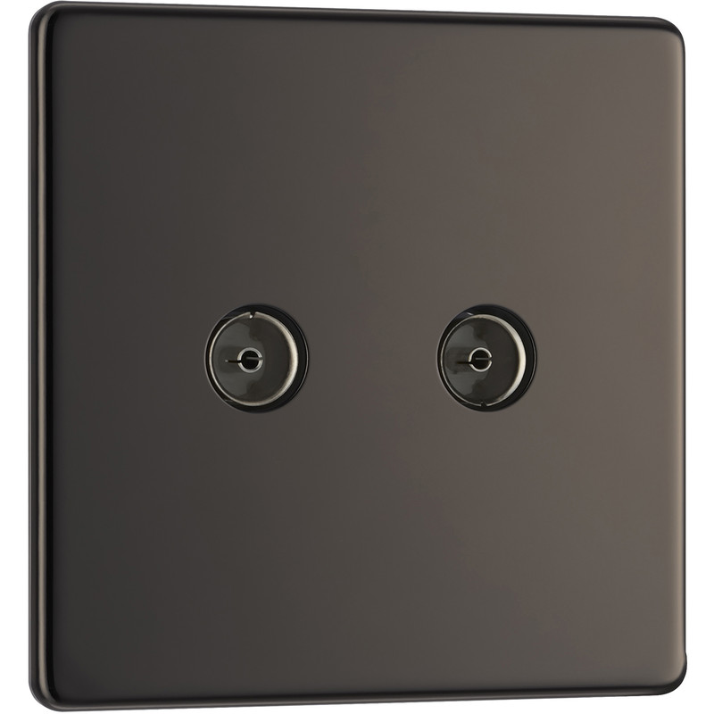 BG Screwless Flat Plate Black Nickel TV / Coaxial Sockets