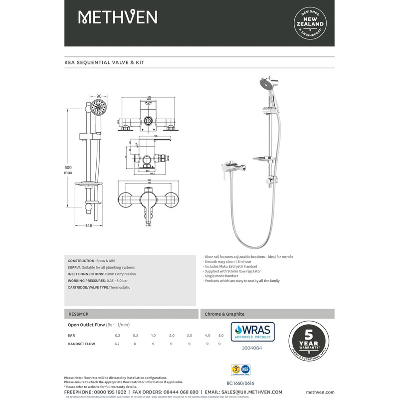 Methven KEA Sequential Shower Valve Kit
