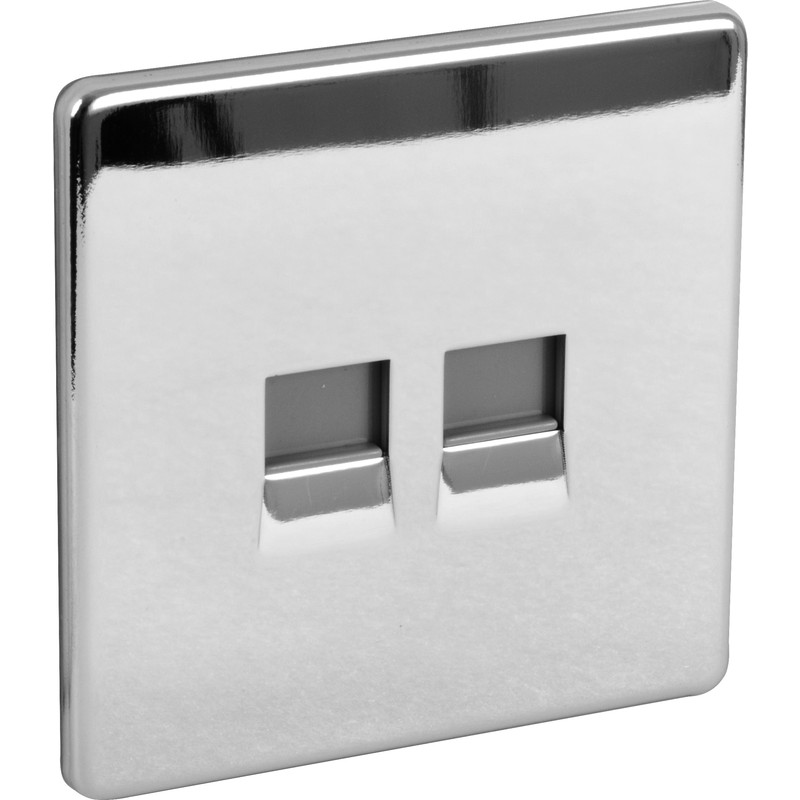 BG Screwless Flat Plate Polished Chrome Telephone Socket