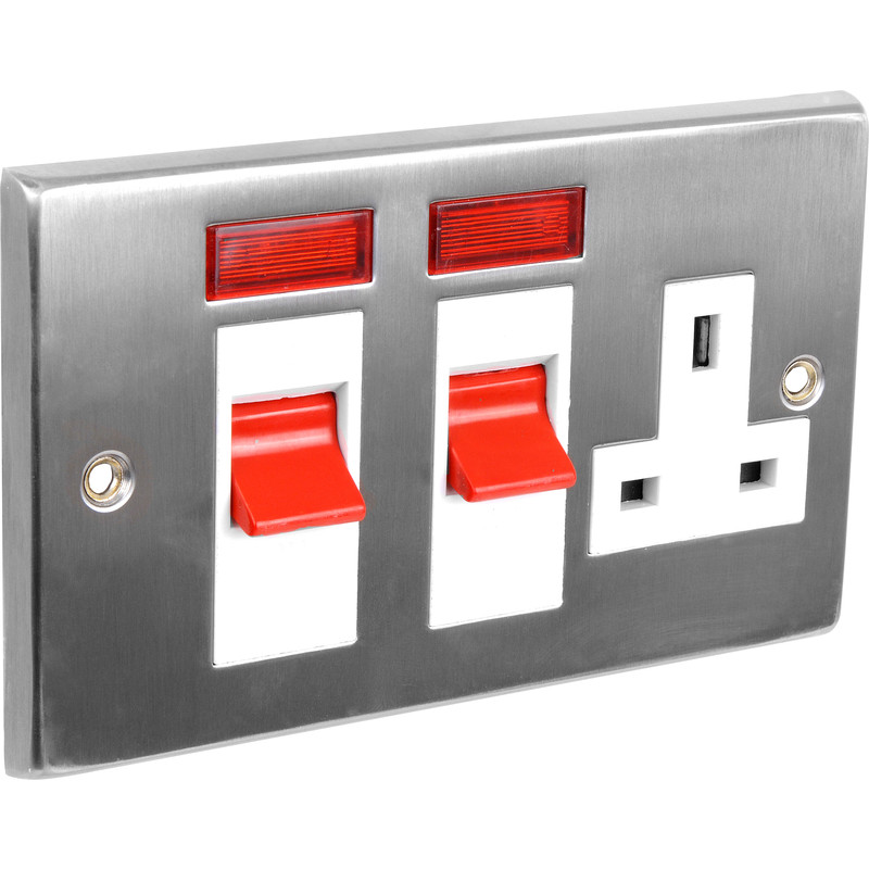 Satin Chrome / White Cooker Socket & Neon