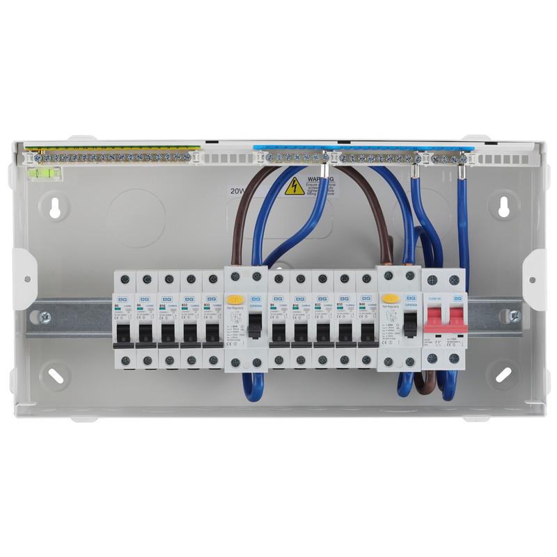 BG Metal Consumer Unit Dual RCD Type A + 10 MCBs
