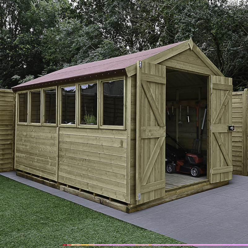 Forest Garden Tongue And Groove Pressure Treated Shed - Double Door