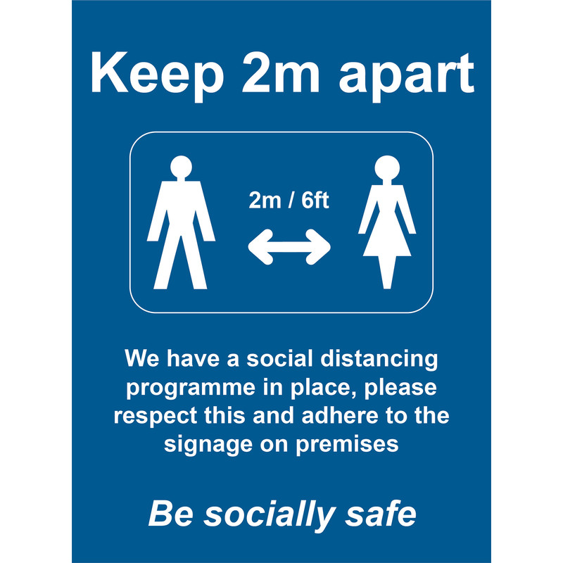 'Keep 2m Apart' Wall Sign