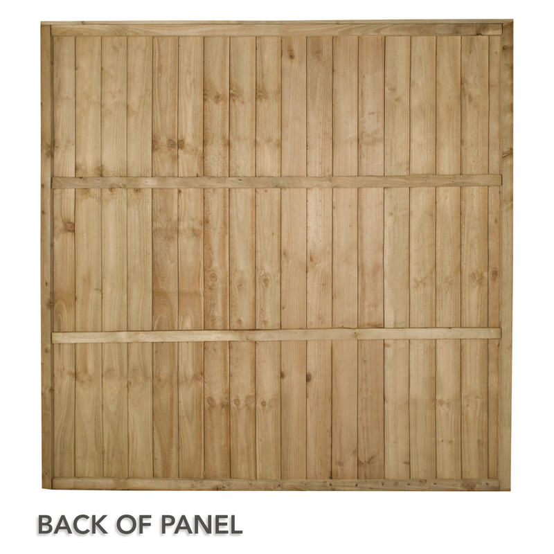 Forest Garden Pressure Treated Square Board  Fence Panel - 5 Pack