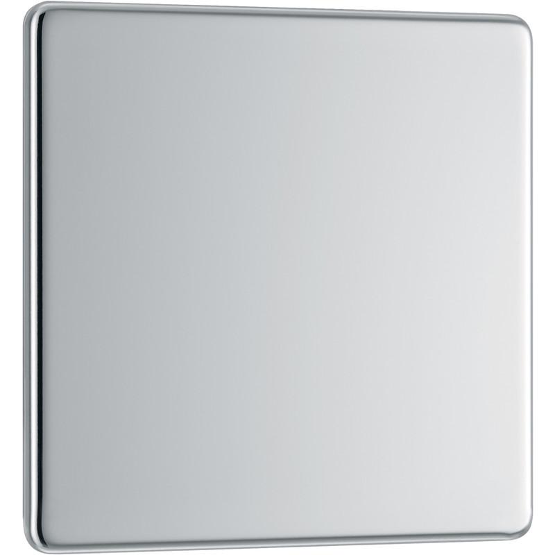 BG Screwless Flat Plate Polished Chrome Blank Plate