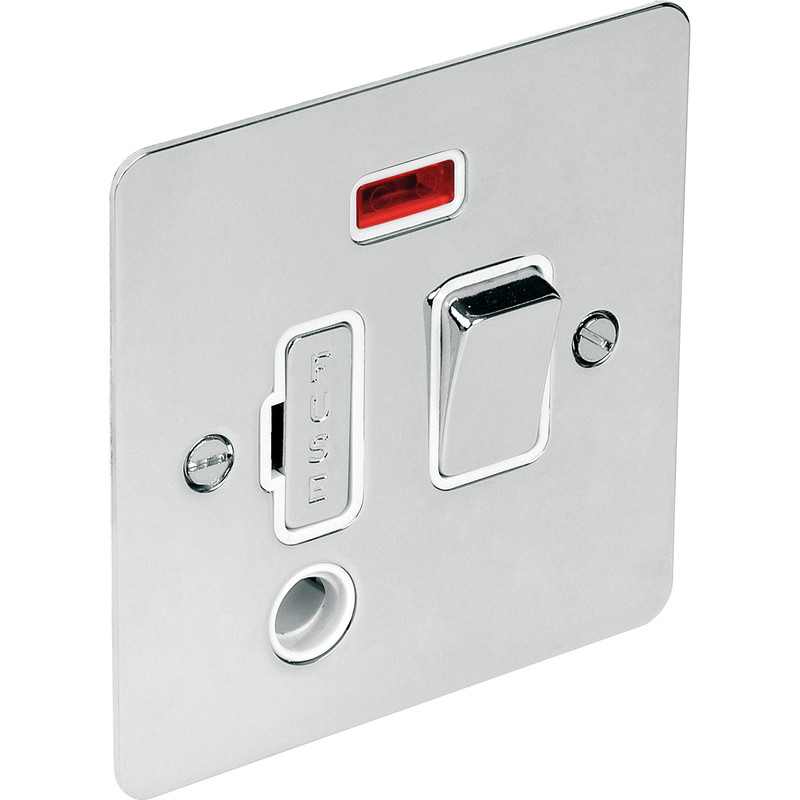 Flat Plate Polished Chrome Fused Spur 13A Switched Neon Flex Outlet