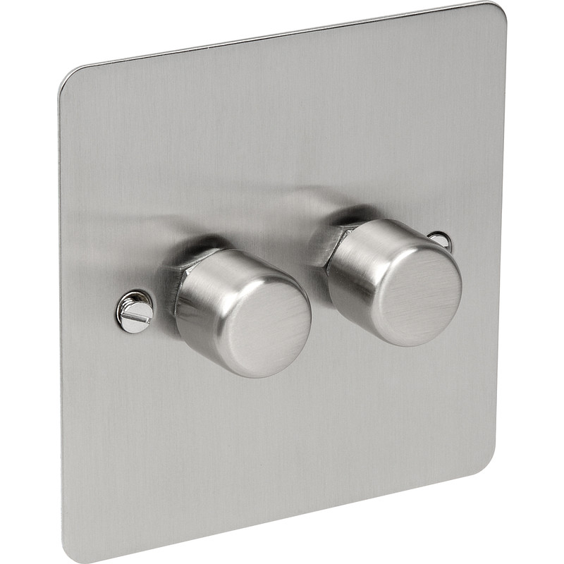 Flat Plate Satin Chrome Dimmer Switch