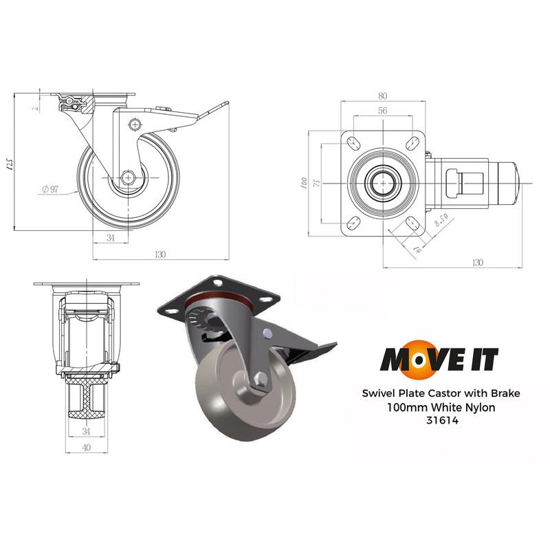 Swivel Wheel with Brake Castor
