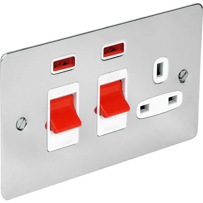 Flat Plate 45A DP Switch & 13A Switched Socket