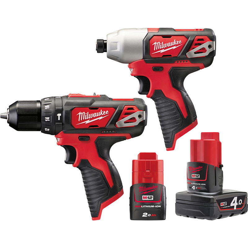Milwaukee M12BPP2B-421C 12V Li-Ion Cordless Compact Combi Drill & Impact Driver Twin Pack